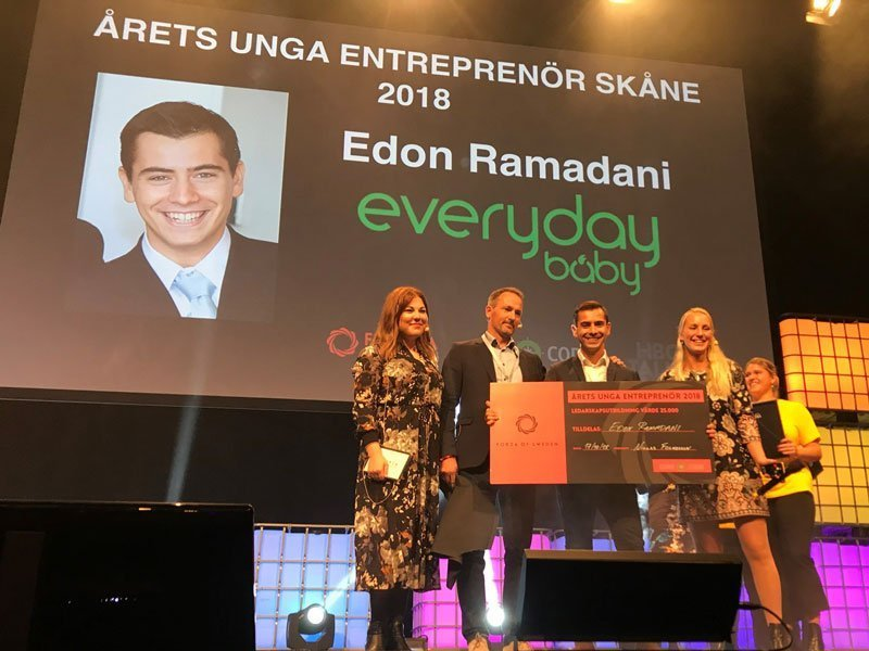 Edon Ramadani från Everyday Baby utnämnd till Årets Unga Entreprenör i Skåne 2018!