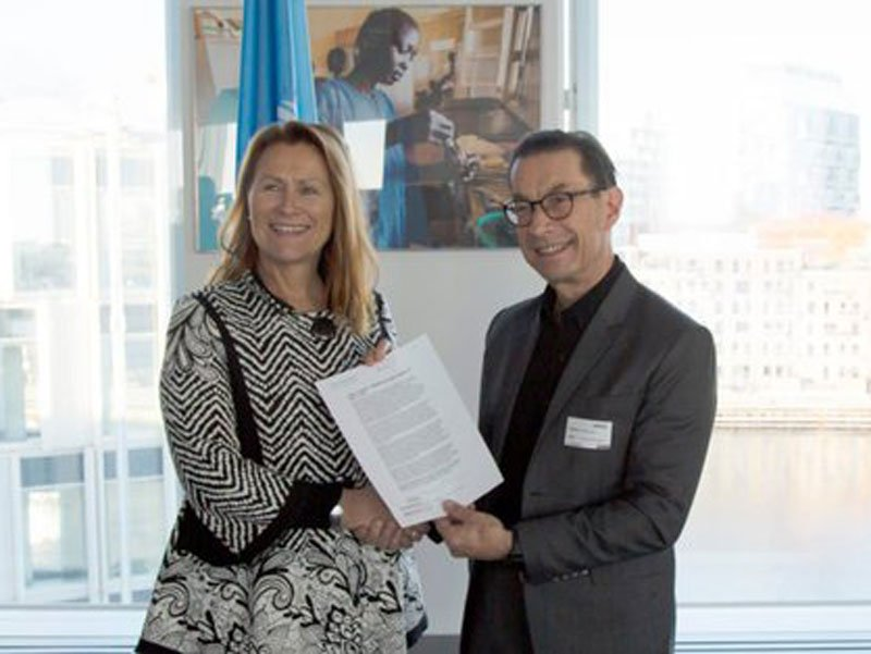Grete Faremo, UNOPS Executive Director and Kjell Håkan Närfelt, Chief Strategy Officer at Vinnova